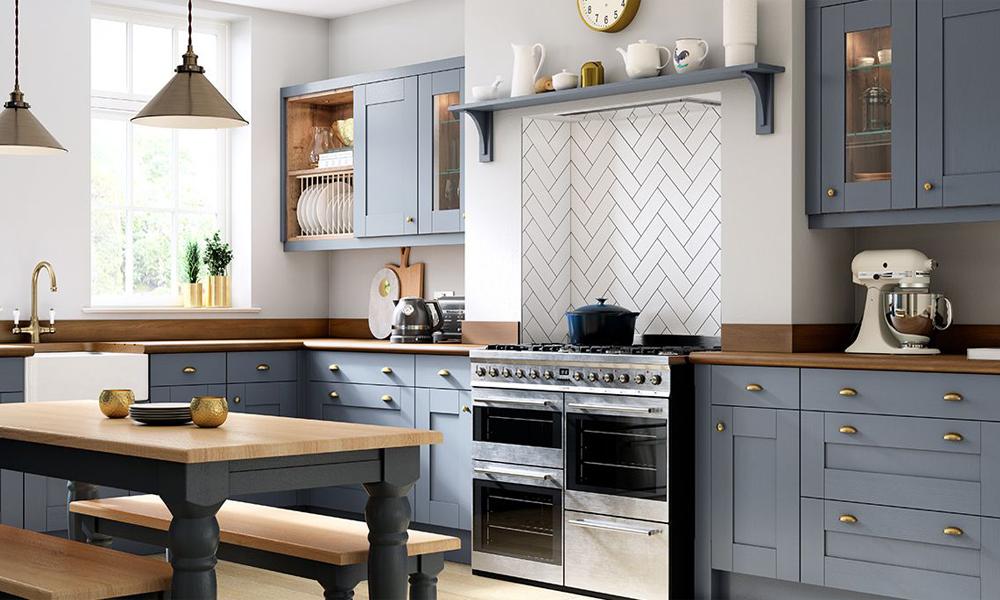 Light Blue New Design Shaker Kitchen Cabinets SWK-014 ...