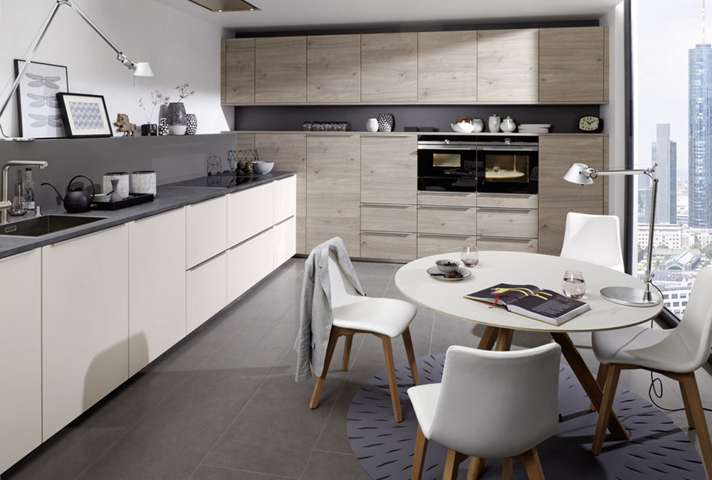 Light Grey Wooden Melamine Finish Kitchen Cabinet Mk 031