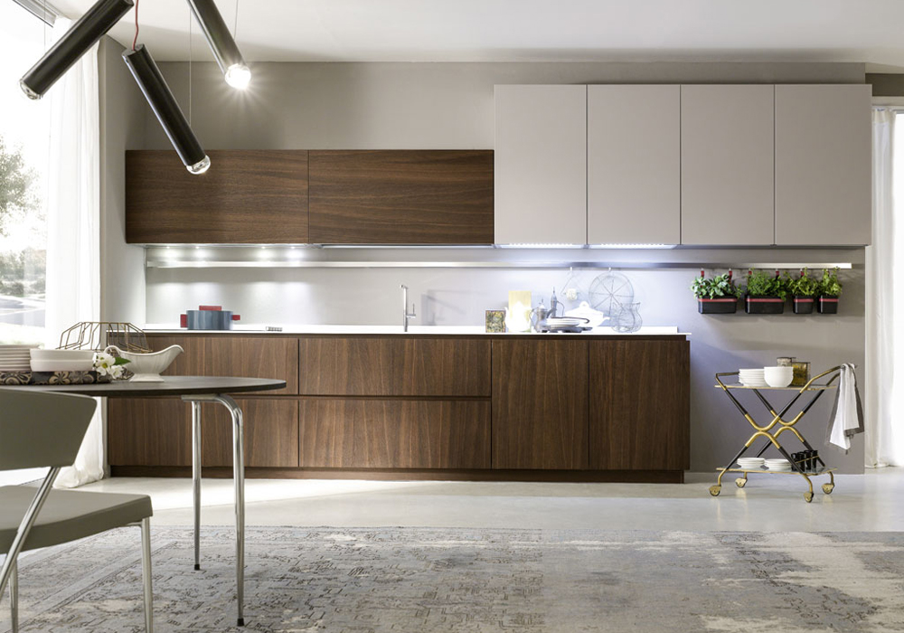 Mohagony Wooden Laminate And High Gloss Matching Design Kitchen Cabinets