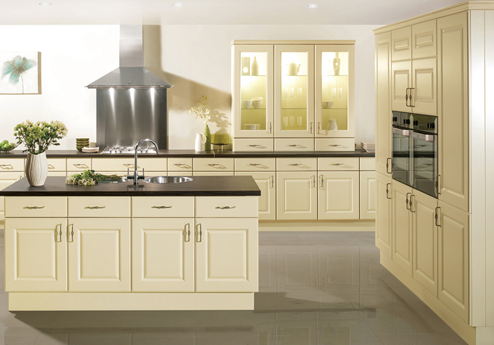 Pvc Thermofoil Cream White Raised Door Kitchen Cabinets Pvck
