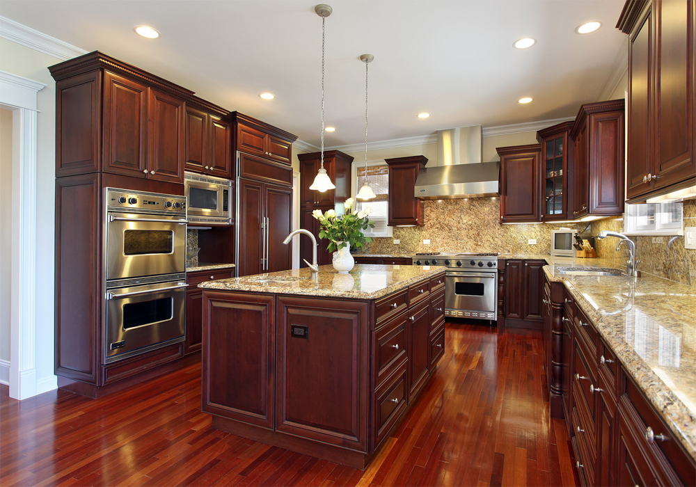 Cherry Color Solid Wood Raised Miter Kitchen Cabinets SWK ...