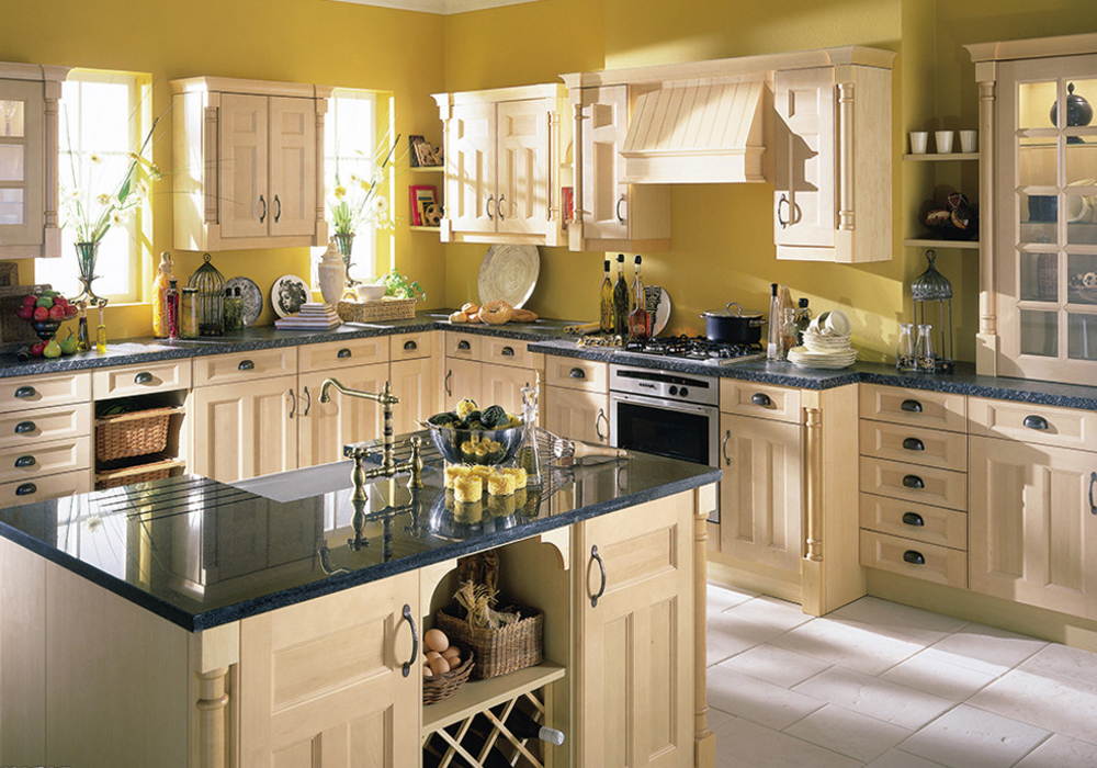 honey color solid birch shaker kitchen cabinet swk-007
