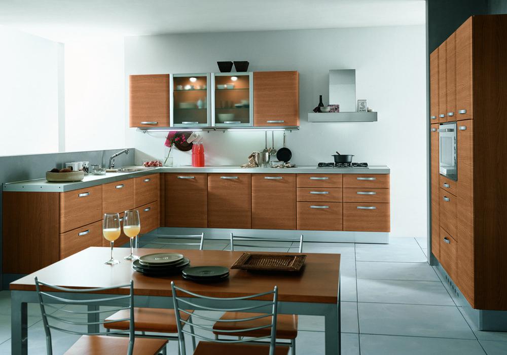 Mahogany Color Melamine Kitchen Cabinets MK-027   Houlive ...