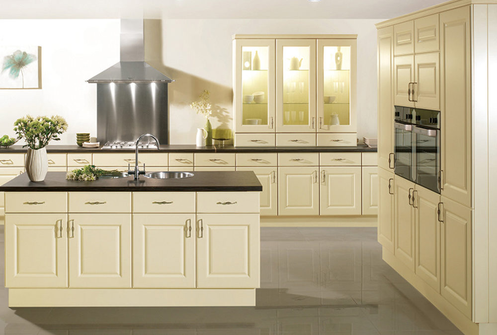 PVC Thermofoil Cream White Raised Door Kitchen Cabinets ...