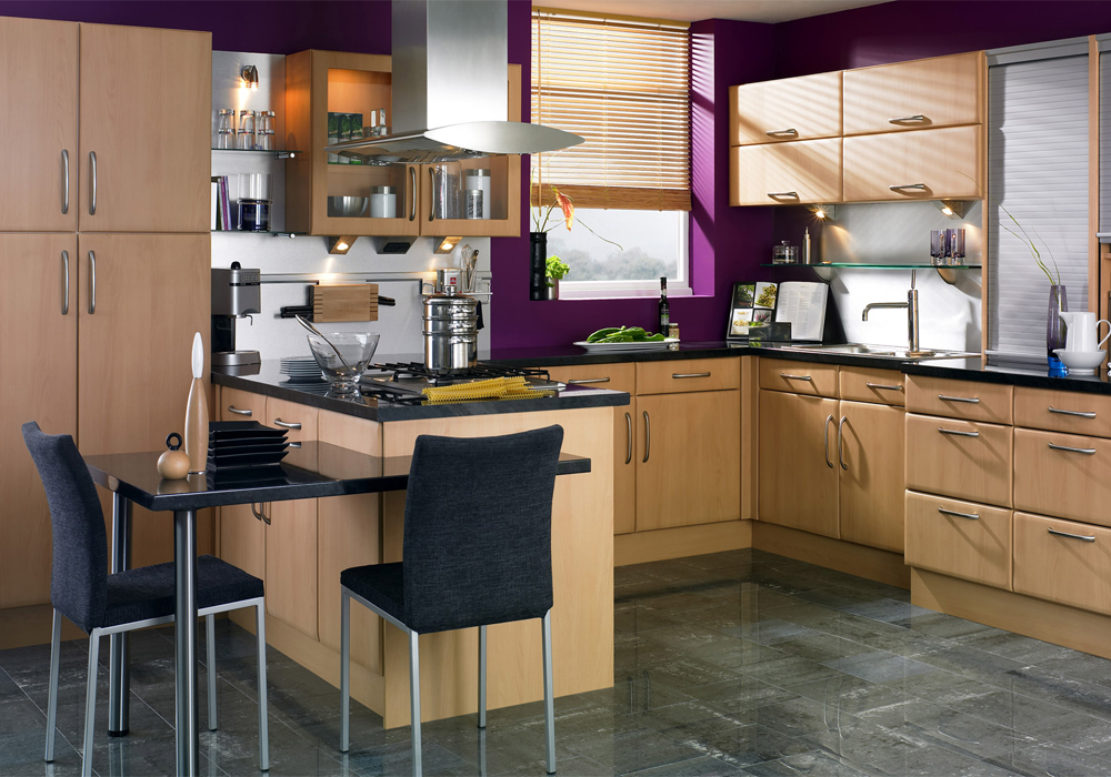 PVC Thermofoil Flat Style Wooden Color Kitchen Cabinets ...